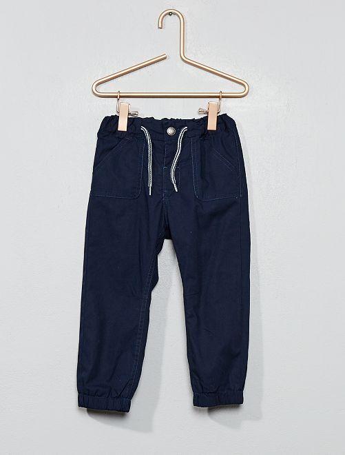 Pantalon droit en popeline                                                     bleu marine