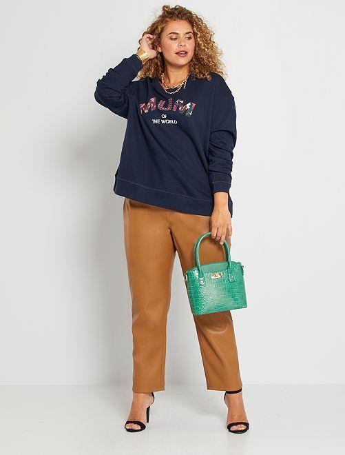 Pantalon droit en simili                                         camel