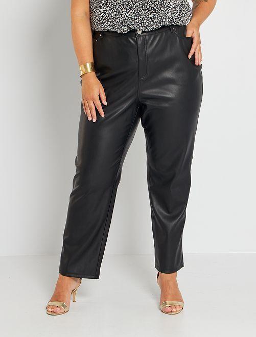 Pantalon droit en simili                                         noir