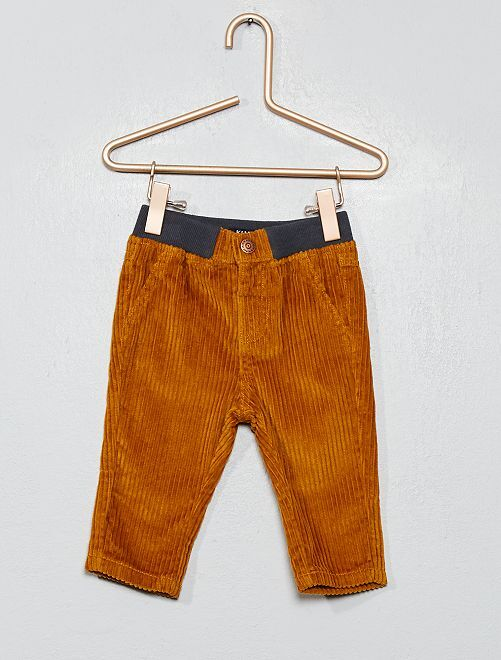 Pantalon droit en velours côtelé                                                     jaune