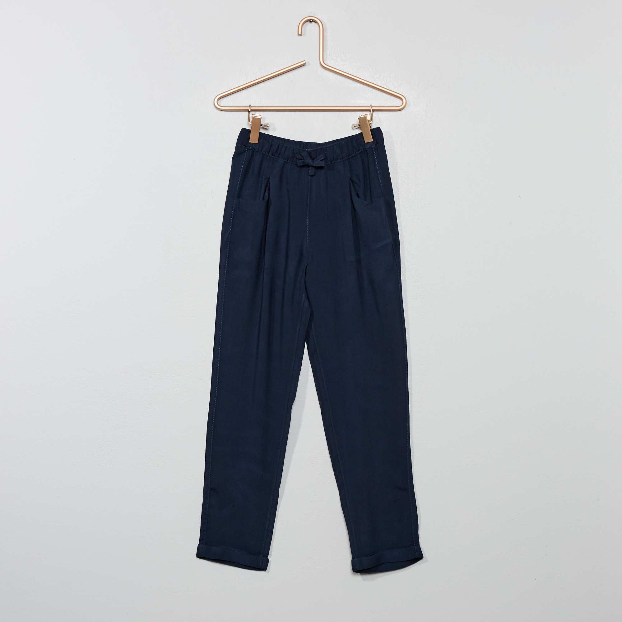9df9bd1bcd80a Pantalon droit fluide Fille - bleu marine - Kiabi - 9,00€
