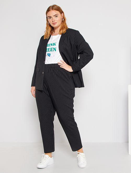 Pantalon droit                                         noir/rayures