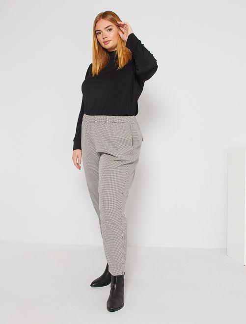 Pantalon droit pied-de-poule                                         noir/blanc