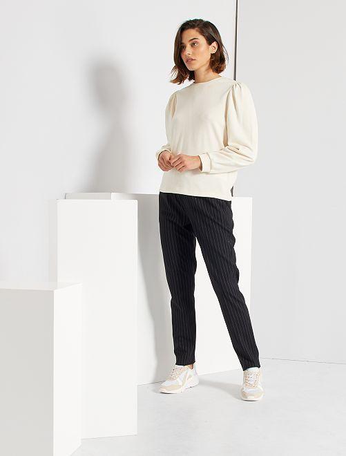 Pantalon droit rayé                             noir
