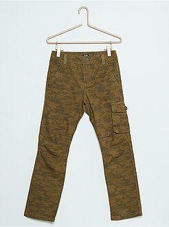 Pantalon droit style battle en coton canvas