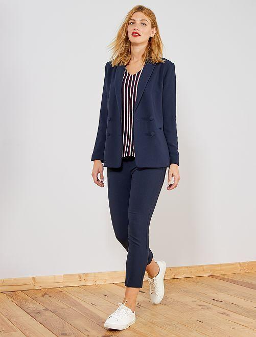 Pantalon droit style tailleur                                             bleu Femme