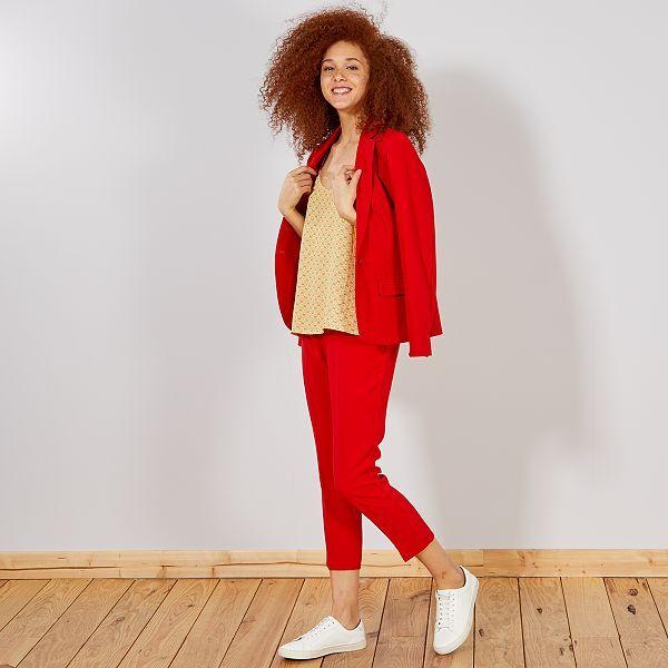 Pantalon droit style tailleur Femme - rouge