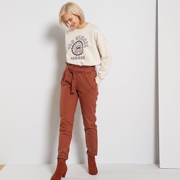 pantalon femme marron