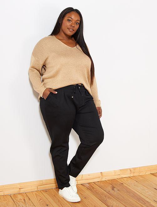 Pantalon droit taille élastique                             noir