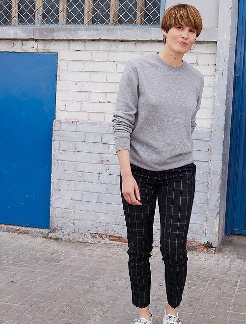 Pantalon écossais slim fit                                                                 carreaux noir