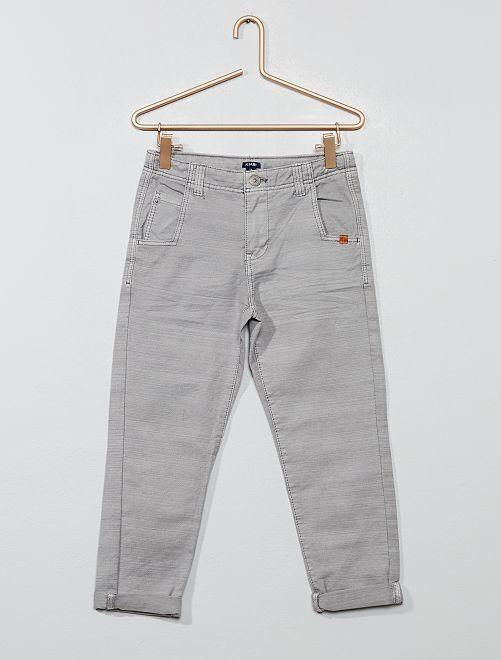 Pantalon en canvas strié                                         gris clair
