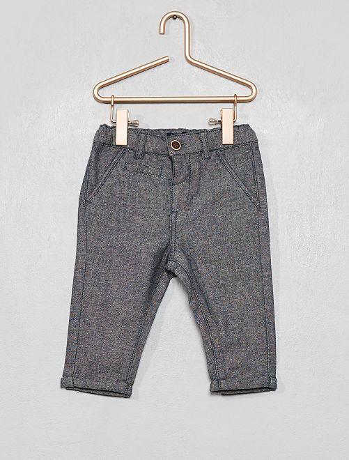 Pantalon en chambray                             bleu chambray
