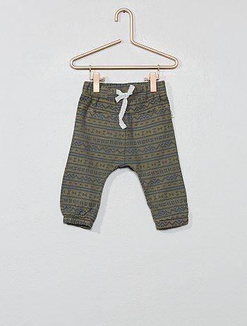 Pantalon en coton et lin imprimé ethnique