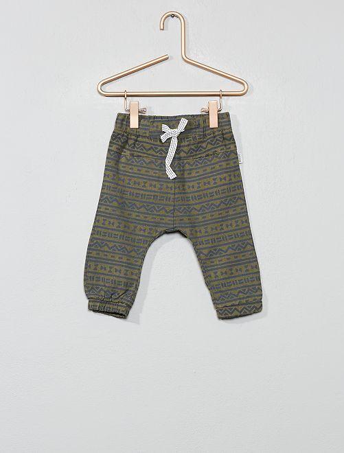 Pantalon en coton et lin imprimé ethnique                             kaki Bébé garçon