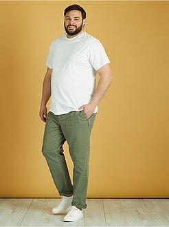 Pantalon - Pantalon en coton et lin - Kiabi