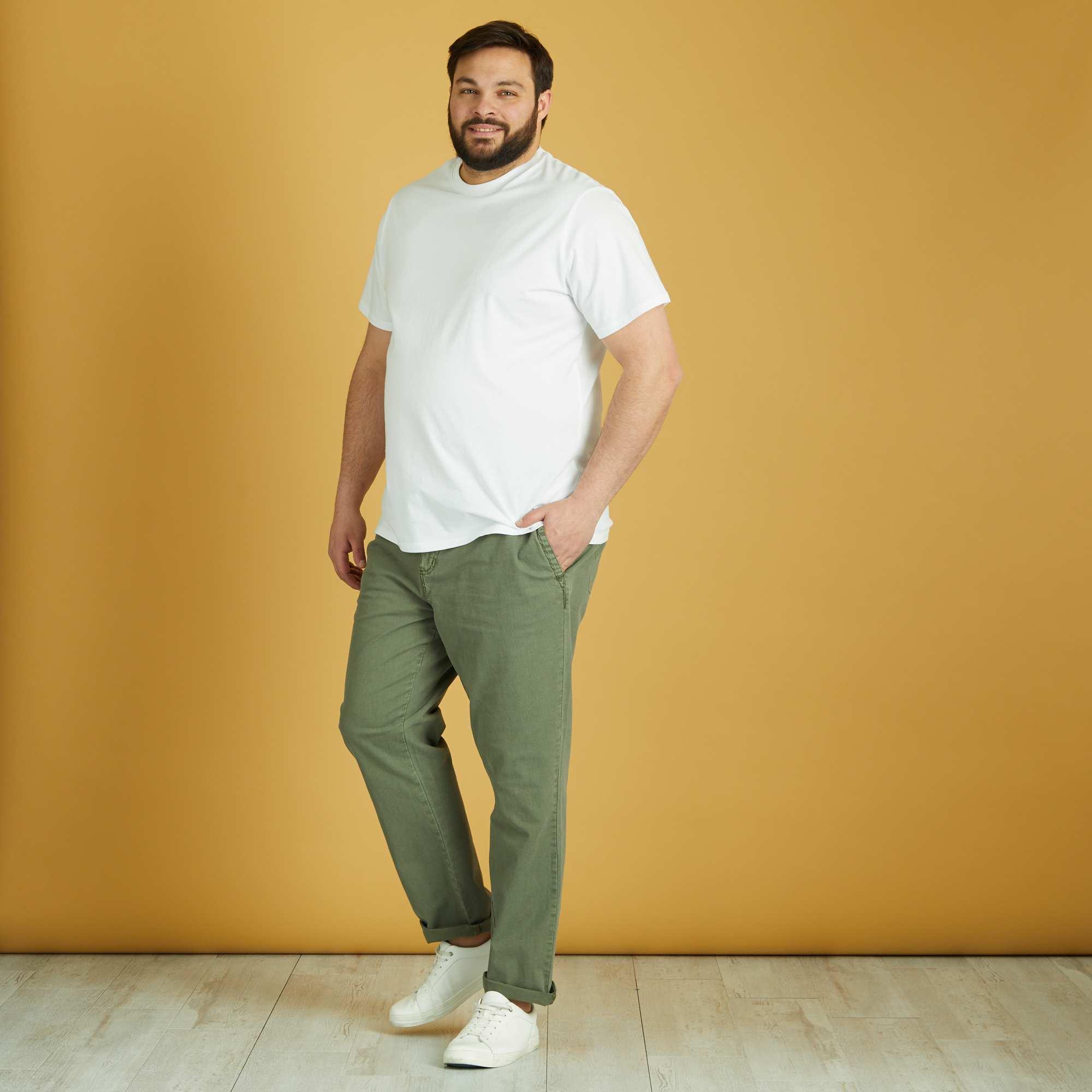 pantalon en coton et lin grande taille homme kaki. Black Bedroom Furniture Sets. Home Design Ideas