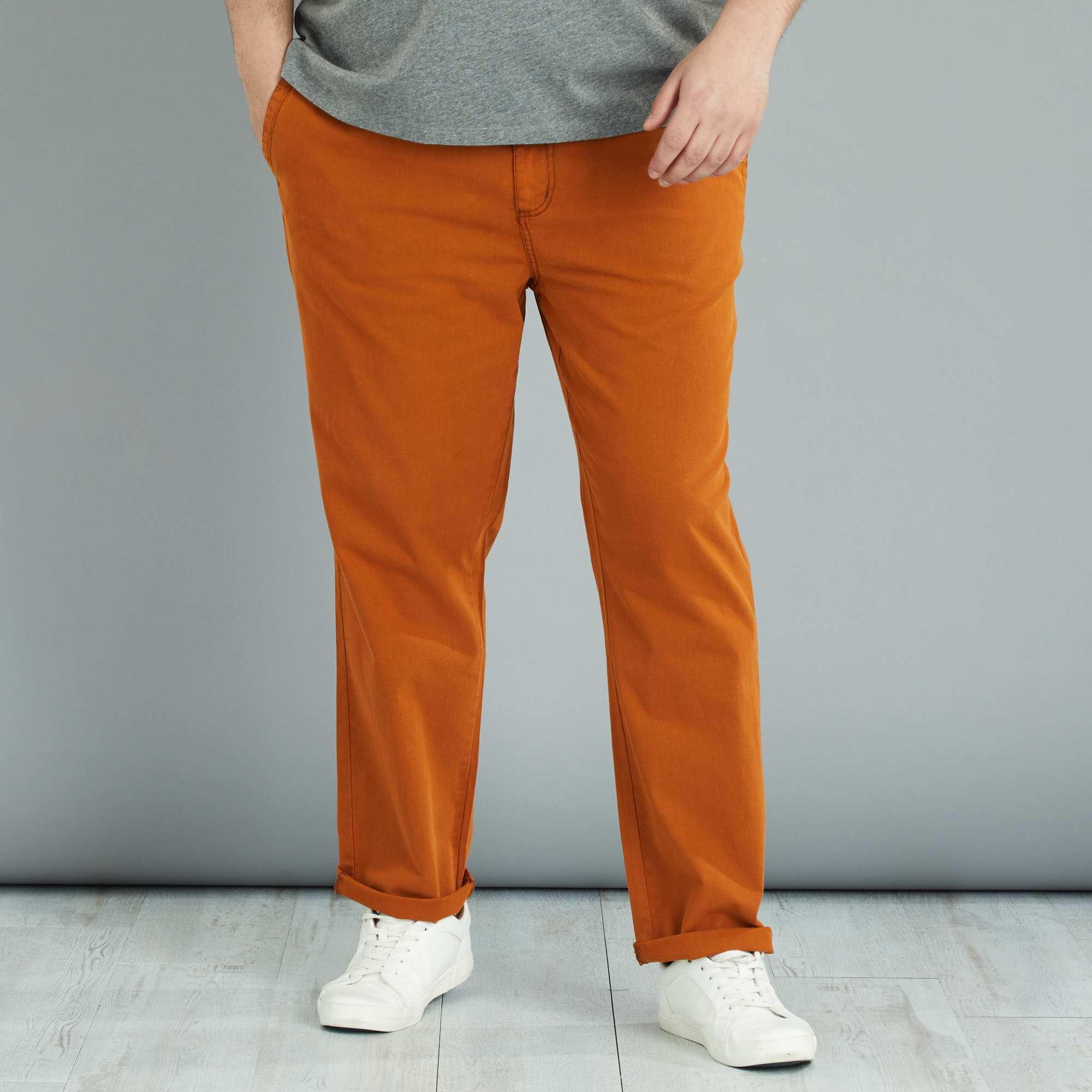 pantalon en coton et lin grande taille homme rouille. Black Bedroom Furniture Sets. Home Design Ideas