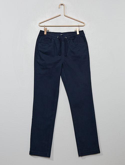Pantalon en coton stretch                                         bleu marine
