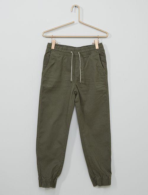Pantalon en coton stretch Enfant rond                     kaki