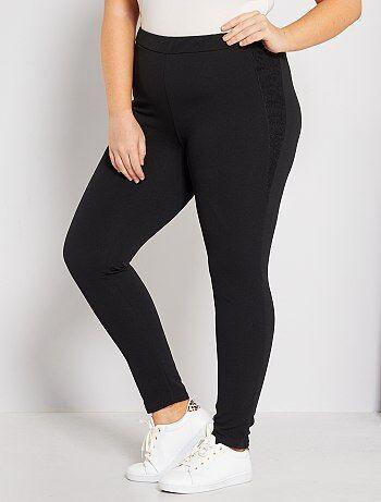 Pantalon en crêpe avec dentelle                              noir Grande taille femme