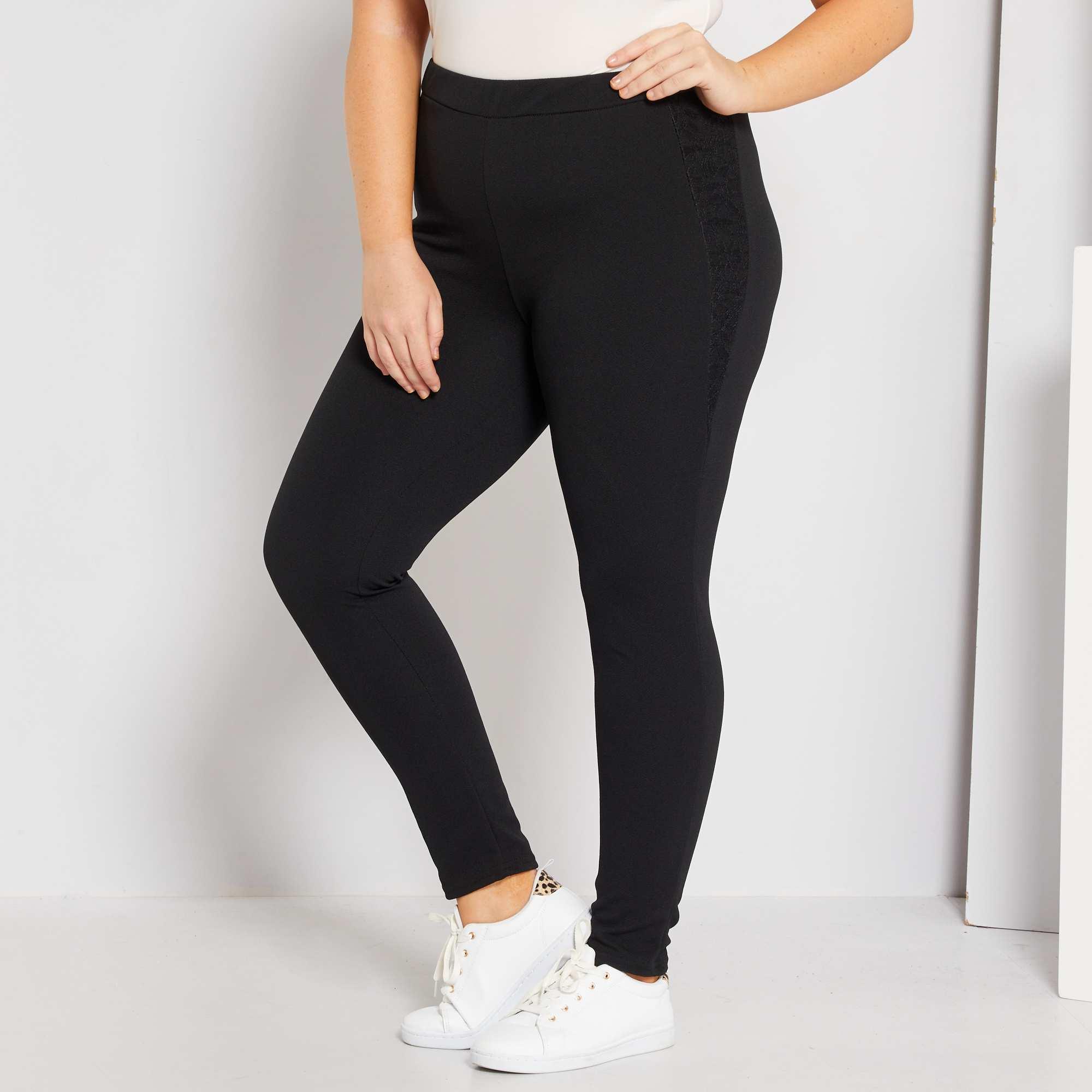 pantalon en cr pe avec dentelle grande taille femme noir. Black Bedroom Furniture Sets. Home Design Ideas