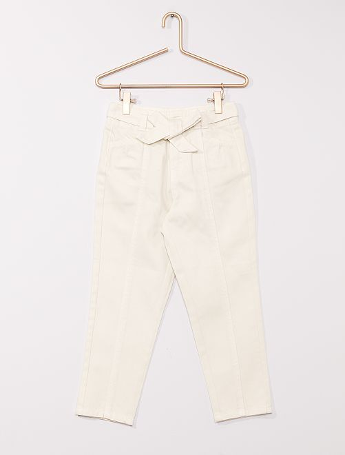 Pantalon en denim avec ceinture                                                                 écru