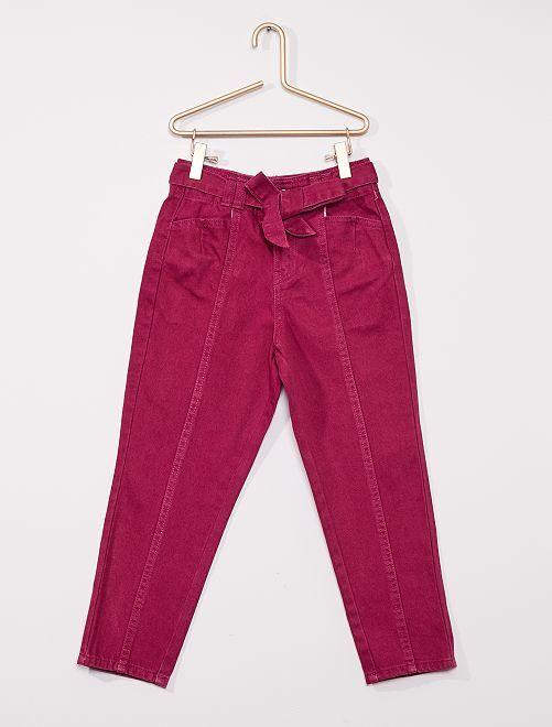 Pantalon en denim avec ceinture                                                                 prune