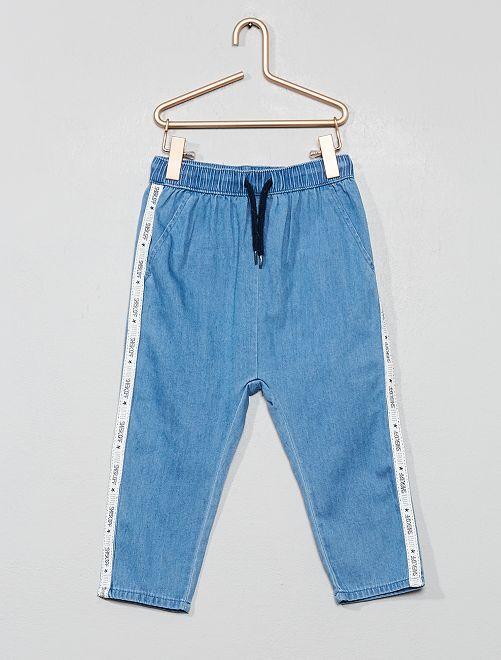 Pantalon en denim fluide bandes côtés                             bleu Bébé garçon