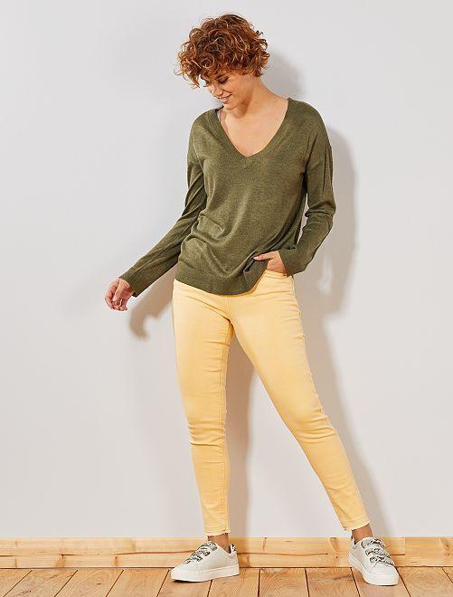 Pantalon en denim skinny                     jaune or Femme