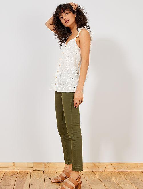 Pantalon en denim skinny                                                                             kaki Femme