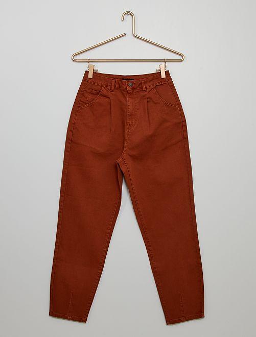 Pantalon en denim slouchy                             marron
