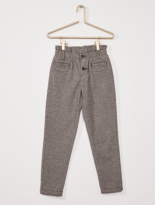 Pantalon en flanelle                                         carreaux gris