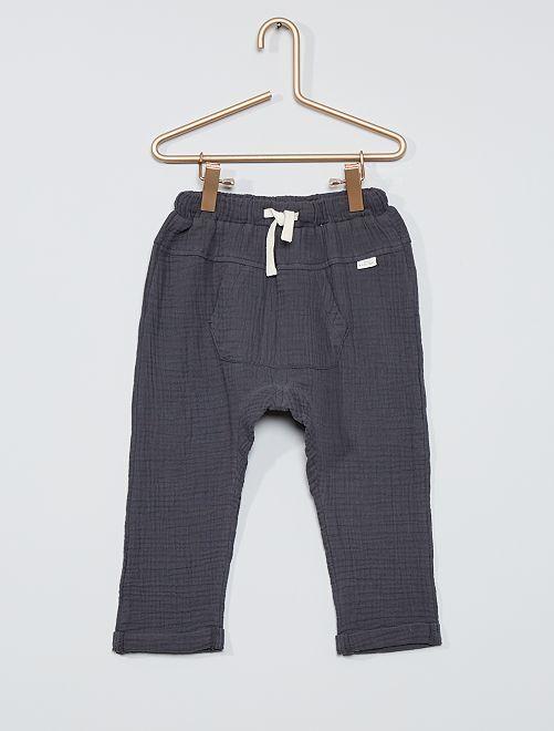 Pantalon en gaze de coton éco-conçu                             gris foncé
