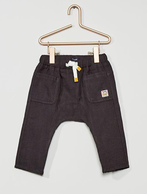 Pantalon en gaze de coton                                                     gris foncé