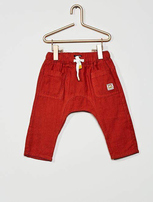 Pantalon en gaze de coton                                                     ocre