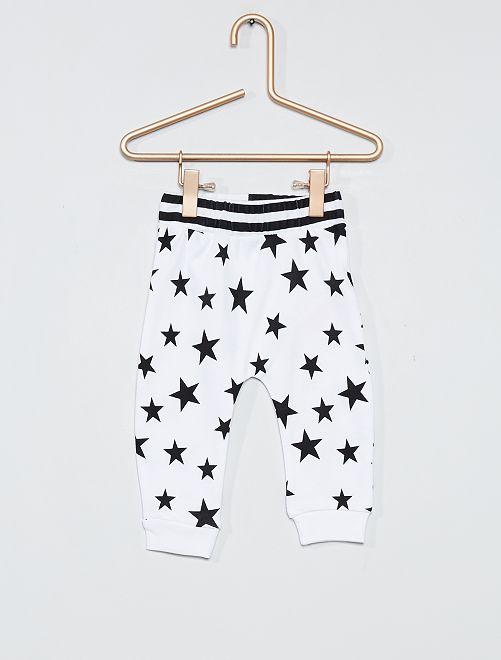 Pantalon en jersey imprimé 'étoiles'                             blanc/noir