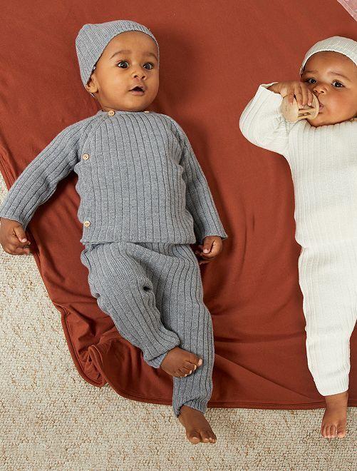 Pantalon en laine 'La Manufacture de Layette'                                         gris chiné