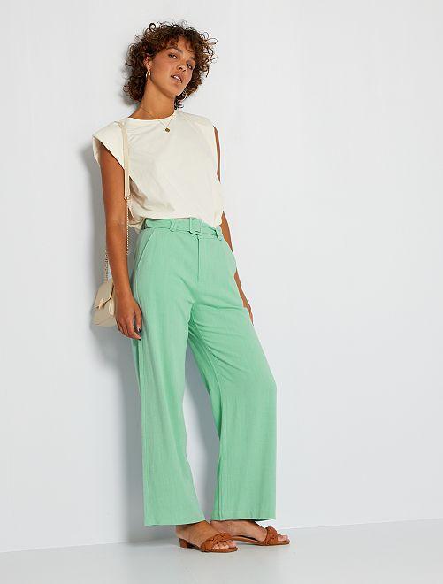 Pantalon en lin éco-conçu                             vert d'eau