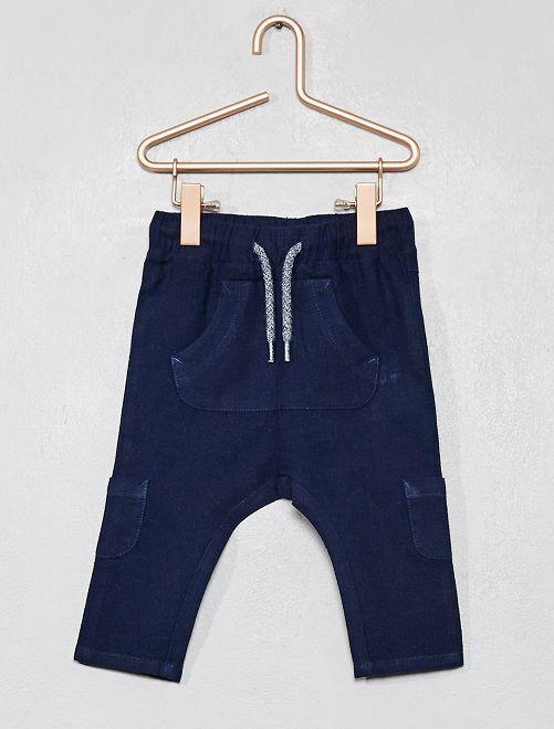 Pantalon en lin et coton multipoche                                 marine Bébé garçon