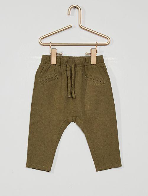 Pantalon en lin                             vert lichen