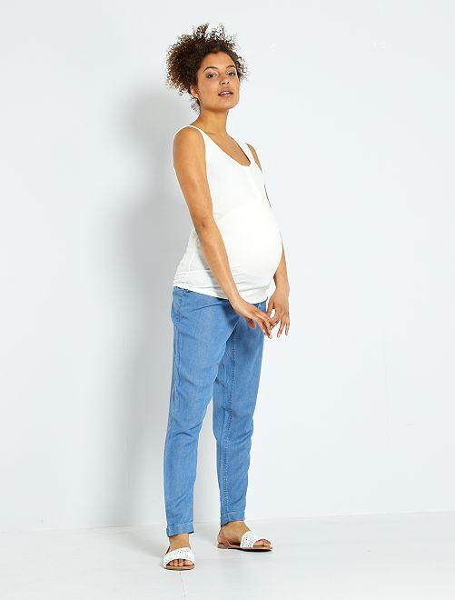 Pantalon en lyocell maternité                             bleu