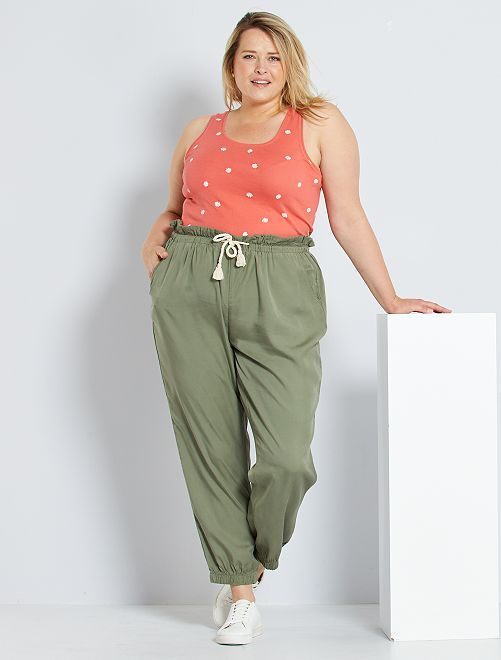 Pantalon en lyocell                                         vert lichen