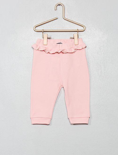 Pantalon en maille à volants                             rose