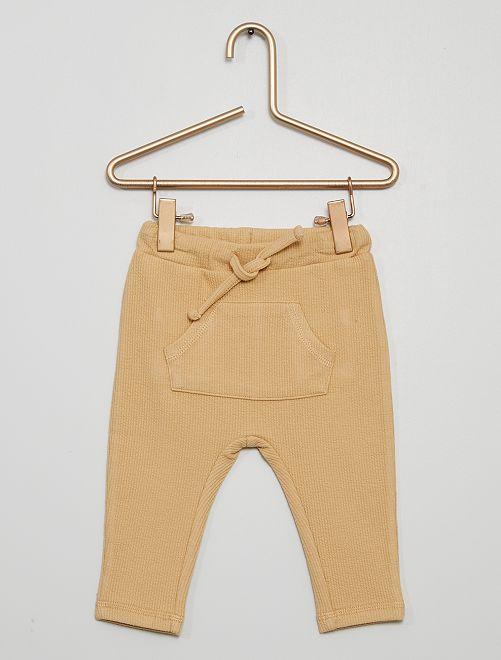 Pantalon en maille côtelée                                         beige