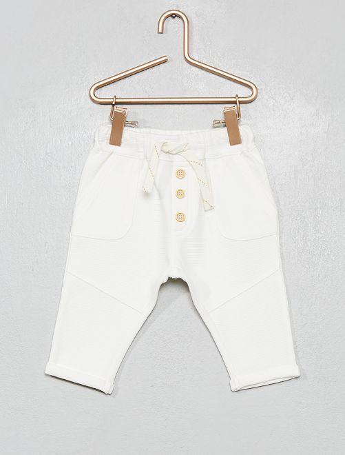Pantalon en maille côtelée                                                                             blanc
