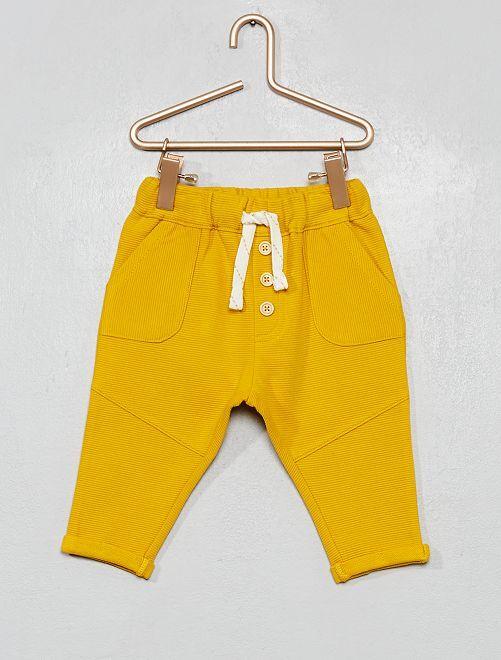 Pantalon en maille côtelée                                                                             jaune bronze