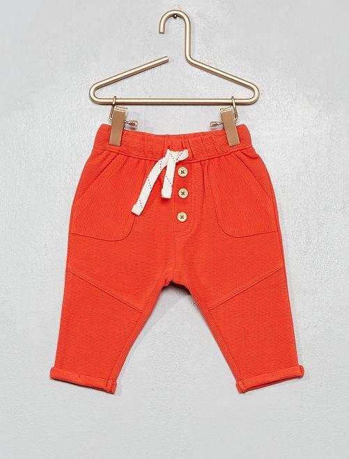 Pantalon en maille côtelée                                                     orange paprika