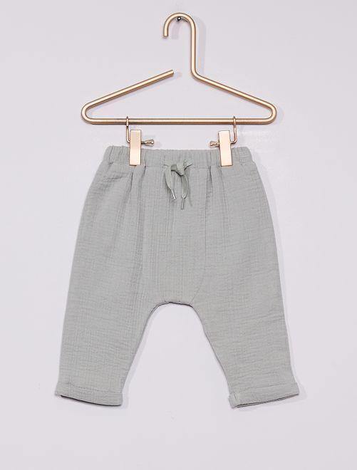 Pantalon en maille crêpée éco-conçu                             VERT