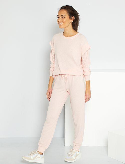 Pantalon en maille doudou                                         rose chiné