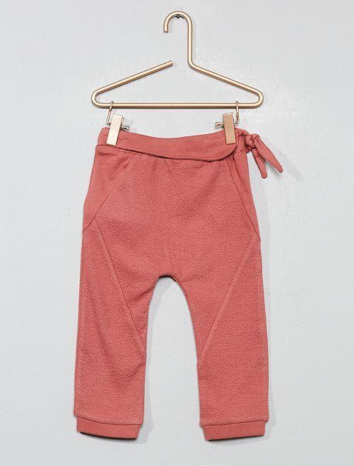 Pantalon en maille gaufrée                             rose